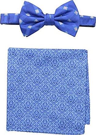 Steve Harvey Mens Satin Grid Bowtie and Brocade Pocket Square, Blue, One Size