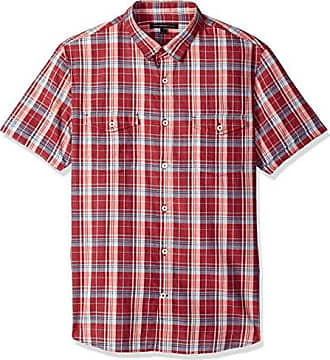 John Varvatos Mens S/S Shirt, Crimson Medium