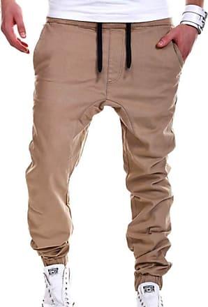 Hellomiko Mens Running Pants Drawstring Joggers Pocket Pants Sweatpants Male Sport Basketball Tennis Fitness Trousers Khaki M