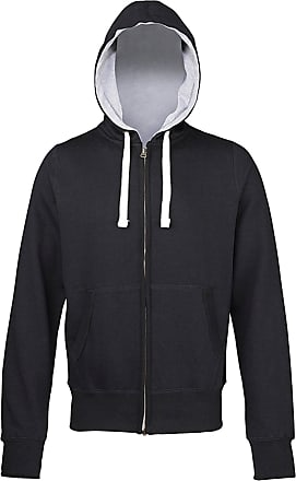 Awdis Mens Chunky Zoodie Full Zip Hoodie Double-Fabric Hood Stylish Fit JH052 (XX-Large, Jet Black (Grey Inner))