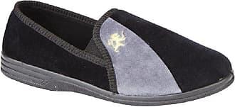 Zedzzz Mens Black and Grey Velour Twin Gusset Slipper - Aaron - Black/Grey - Black/Grey - size 10 UK A