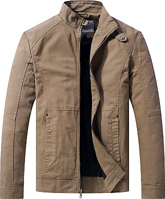 WenVen Mens Summer Military Jackets Khaki X-Large
