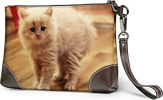 GLGFashion Womens Leather Wristlet Clutch Wallet Honey Cat Storage Purse With Strap Zipper Pouch