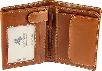 Visconti Gents Mens Vicenza Collection Italian Veg Tan Luxury Leather Wallet - VCN16, Brown, Standard