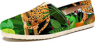 Tizorax Growling Leopard Jumping On Trunk Mens Slip on Loafers Shoes Casual Canvas Flat Boat Shoe