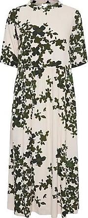 Ichi Dunkelgrünes, floral bedrucktes Midikleid - L-14