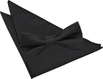 DQT Woven Swirl Patterned Black Mens Pre-Tied Bow Tie Hanky Wedding Set