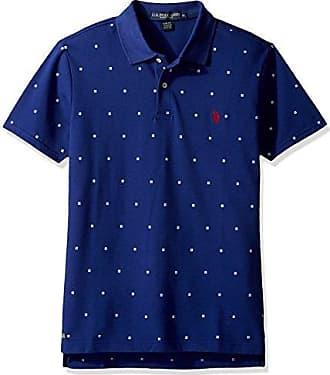U.S.Polo Association Mens Printed Short Sleeve Classic Fit Pique Polo Shirt, Marina Blue, M