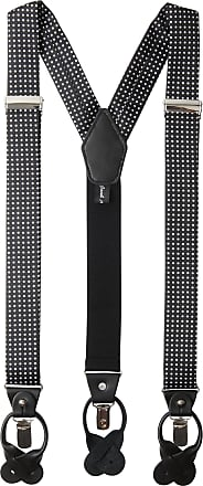 Jacob Alexander Mens Polka Dot Y-Back Suspenders Braces Convertible Leather Ends and Clips - Charcoal