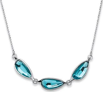 PalmBeach Jewelry Blue Half Moon Crystal Necklace MADE WITH SWAROVSKI ELEMENTS in Silvertone 18-20