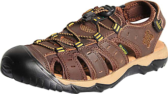 iLoveSIA Mens Athletic and Outdoor Closed-Toe Leather Sandals Deep Brown UK 9.5 (Lable 45)