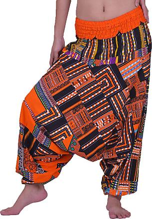 Lofbaz Womens Smocked Waist Floral Pattern 2 in 1 Patch Harem Pants Jumpsuit - Dashiki Orange - OS