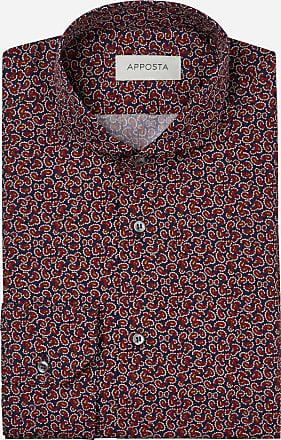 Apposta Camicia disegni a fantasia multi 100% puro cotone popeline, collo stile semifrancese aperto