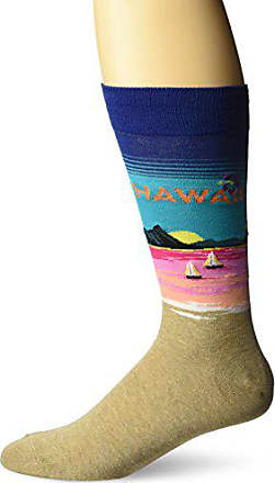 Hot Sox Mens Classic Fashion Crew Socks, Hawaii (Dark Blue), Shoe Size: 6-12
