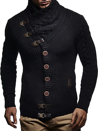 LEIF NELSON Men Cardigan Jacket Shawl Collar LN-7080 Black Medium