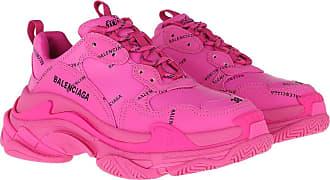 Balenciaga Sneakers - Triple S All Over Logo Sneakers Pink/Black - magenta - Sneakers for ladies