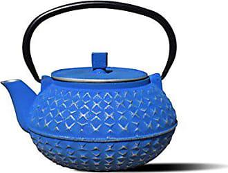 Old Dutch International Yorokobi Cast Iron Teapot, 30 oz, Silver/Blue