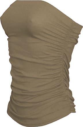 Janisramone Womens New Boobtube Bandeau Strapless Top Ladies Both Side Ruched Crop Bra Vest Top