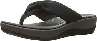 Clarks Womens Arla Glison Flip-Flop, Black Fabric, 10 Medium US