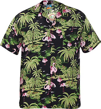 True Face Mens Hawaiian Shirt Stag Party Short Sleeve Tshirt Beach Palm Tree Adult Fancy Dress Hawaii Top FLIMINGO Black 2XL