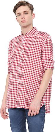 Lacoste Camisa Lacoste Regular Xadrez Vermelha