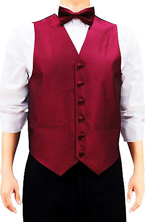 Retreez Mens Check Textured Woven Mens Suit Waistcoat Set with Matching Tie, Pre-Tied Bow Tie, Pocket Square, 4 Pieces Gift Set as a, Birthday Gift - Burgundy