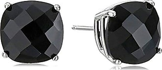 Amazon Collection 14k White Gold Cushion-Cut Checkerboard Onyx Stud Earrings (8mm)