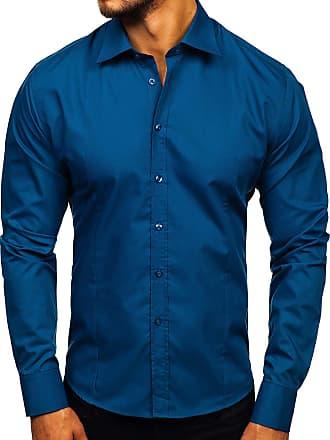 BOLF Mens Shirts Long Sleeve Casual Smart Formal Double Collar Classic 2B2 Plain