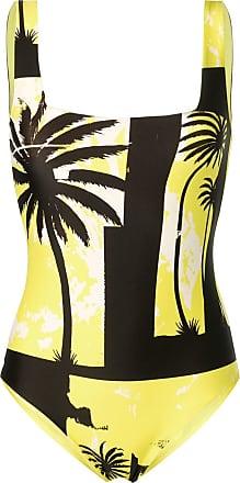 FAUSTO PUGLISI Body com estampa de palmerias - Amarelo