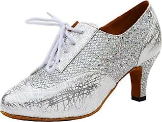 MGM-Joymod Womens Classic Lace-up Print Glitter Silver Synthetic Tango Ballroom Latin Modern Dance Shoes Evening Wedding Shoes 7 M UK