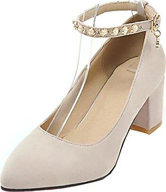 22b2173d47bb55 Aiyoumei Damen Spitze Pumps mit Blockabsatz Riemchen Schuhe mit Perlen 6cm  Absatz Bequem