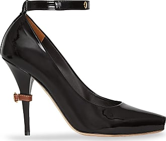 Burberry D-ring Detail Patent Leather Peep-toe Pumps - Black