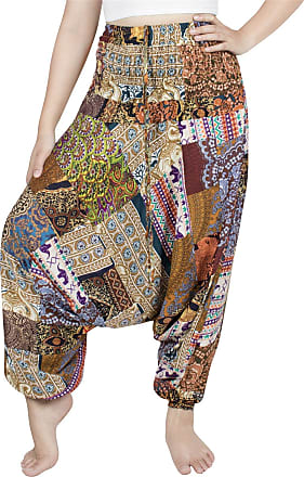 Lofbaz Womens Smocked Waist Floral Pattern 2 in 1 Patch Harem Pants Jumpsuit - Yellow - OS
