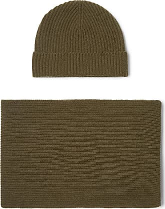 Johnstons of Elgin Ribbed Cashmere Scarf And Beanie Set - Army green