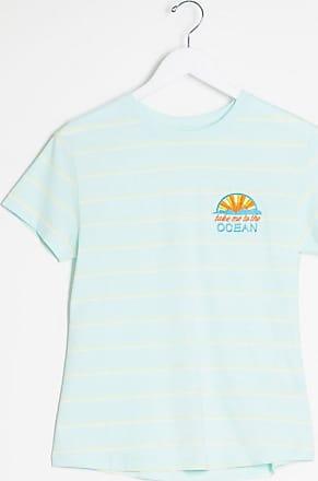 Brave Soul Gestreiftes T-Shirt mit besticktem Aufnäher-Blau