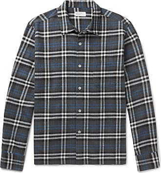 Universal Works Checked Brushed-cotton Shirt - Charcoal