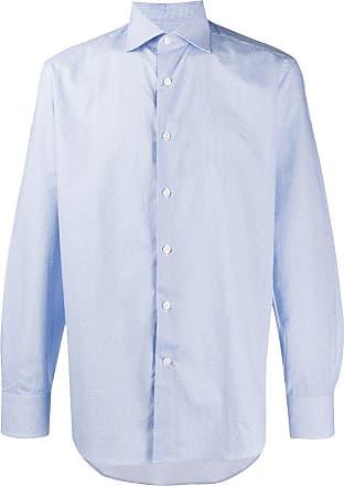 Canali Camisa mangas longas com poás - Azul