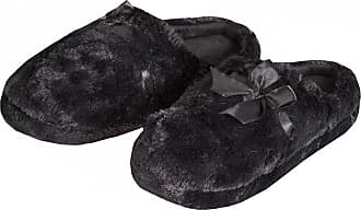 Forever Dreaming Womens Fluffy Mule Slippers - Memory Foam Insole | Sizes 3-8 | Faux Fur Ribbon Gift Black 4