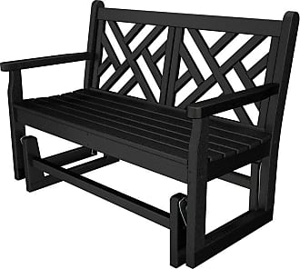 POLYWOOD Chippendale 4 ft. Recycled Plastic Outdoor Glider Loveseat Slate Gray - CDG48GY