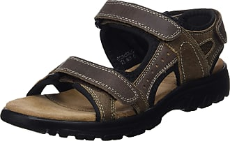 Northwest Territory Mens Leather Upper Velcro Straps Sandal, with Cross Strap Front and Padded Insole (6 UK, Tan)