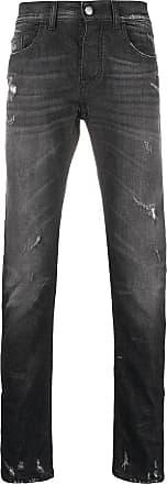 Frankie Morello Calça jeans reta com efeito destroyed - Preto