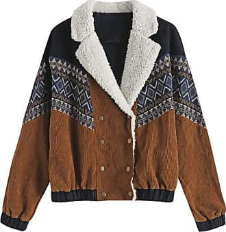 Zaful Womens Double Breasted Corduroy Jacket Tribal Print Collar Casual Sheepskin Short Crop Jacket - Brown - XL