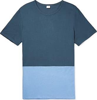 Onia Chad Colour-block Linen And Modal-blend T-shirt - Blue