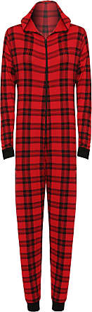 WearAll Womens Animal Aztec Zebra Print Onesie Ladies Playsuit Long Hooded Jumpsuit - Red Check - 8/10