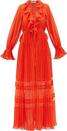 Self Portrait Self-portrait - Lace-trimmed Pleated Chiffon Dress - Womens - Orange
