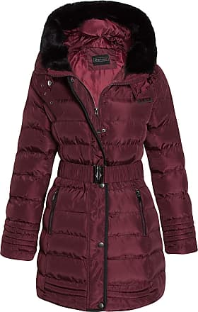 Shelikes Womens Faux Fur Trim Hooded Quilted Padded Warm Long Belted Winter Coat_G130_Wine_8