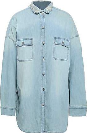 Iro Iro Woman Distressed Denim Shirt Light Denim Size 36