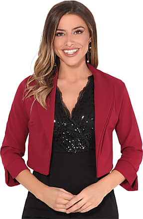 Krisp Womens 3/4 Sleeve Shrug Crop Bolero Top Open Jacket Blazer (Stone, 12), 3729-STN-12