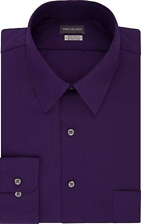 Van Heusen Mens Poplin Regular Fit Solid Point Collar Dress Shirt, Purple Velvet, 15.5 Neck 34/35 Sleeve (M)