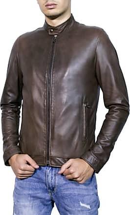 Leather Trend Italy U010 - Giacca Uomo in Vera Pelle colore Testa di Moro Invecchiato